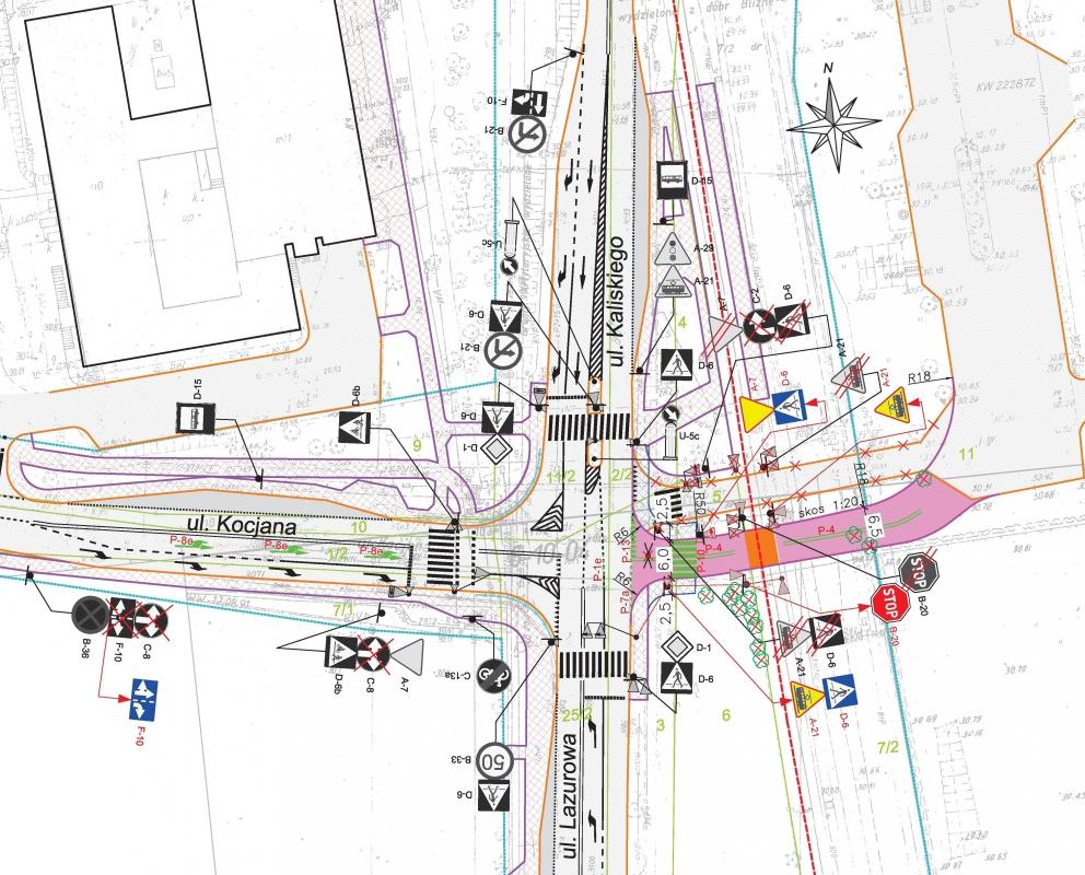 Koncepcja przebudowy skrzyżowania ulic Kocjana i Kaliskiego w Warszawie